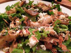 Warm Mushroom Salad With Feta & Crispy Onions