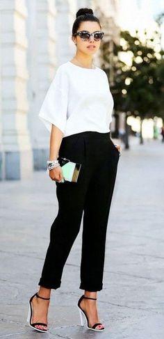 amazing outfit idea / white blouse + pants + heels