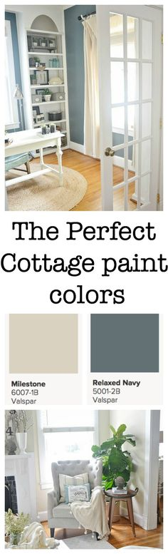 The perfect cottage paint colors - Valspar Milestone & Relaxed Navy - available @ Lowe's Cottage Paint Colors, House Colors, Cottage Living, Cottage Style, Living Room, Lake Cottage, Style At Home, Room Colors, Wall Colors