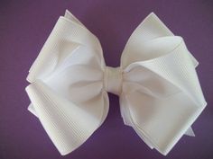 Toddler Hair Bow White Big Double Boutique  Hair by preciouscurls, .