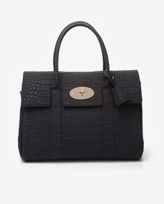 Mulberry Bayswater Textured Croc Print Tote  Black Purses And Handbags,  Classic Chic, Crocs 148e972a61