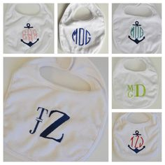 Monogrammed Bib Gift Set. . . Pick any 3 by DoKiDesign on Etsy, $25.00