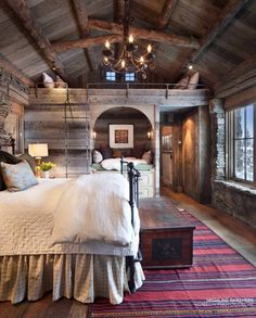 Suburban Men - Dream House - Rustic Design Ideas Photos) - September 2015 SO! THis might be an upstairs in my dream home. Design Rustique, Log Home Interiors, Bedroom Interiors, Bedroom Lamps, Bedroom Furniture, Furniture Plans, Kids Furniture, System Furniture, Furniture Chairs