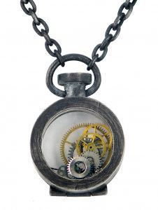 Fob pendant in oxidised sterling silver, watch parts and watch  By Deeana Michela  www.deeanamichela.com