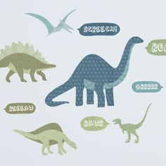 Roarrr! Take your little one back to pre-historic times with this gang of big, bold dinosaur wall stickers!   Brontosaurus is approx. 21cm wide and 28cm tall. T-Rex is approx. 20cm wide and 15cm tall. Wall Sticker pack contains: 1 Brontosaurus, 1 Tyrannosaurus Rex, 1 Triceratops, 1 Pterodactyl, 1 Deinonychus, 1 Stegosaurus, 1 Ouranosaurus and 5 dinosaur sound speech bubbles.