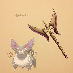 Instagram media by rebusalpa - Pokeapon No. 432 - Purugly. #pokemon #purugly #axe #pokeapon