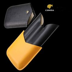 COHIBA Leather 3 Tube Cigar Case Fine Embossed Leather, Black and brand new, elegant and modern designConvenient size, easy to carry with your cigars Leather Cigar Case, Cigar Cases, Black N Yellow, Cigars, Card Case, Tube, Brand New, Wallet, Elegant
