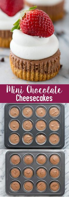 These are the BEST mini chocolate cheesecakes! 15 minutes to bake and you can add any toppings you want. Learn our tricks for making perfect chocolate cheesecakes. Mini Chocolate Cheesecake, Chocolate Pastry, Homemade Chocolate, Best Dessert Recipes, Cheesecake Recipes, Delicious Desserts, Yummy Food, Sweets Recipes, Holiday Recipes