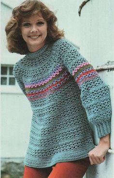 Instant PDF Download Vintage Crochet Pattern to make a Ladies Girl's Long Sleeve Loose Fitting Smock Top or Tunic Sweater Sizes 6 -16