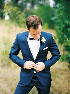 Groomsmen Attire (With Suspenders)  Change the bow tie to navy blue and the flower to blush pink rose