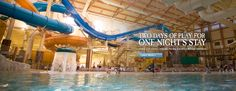 Great Wolf Lodge in the Poconos mountains! water slides, kids adventure activity, kid bowling alley and more!