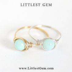 Baby Blue Ring - unique rings - wire wrapped jewelry handmade - custom - LIMITED