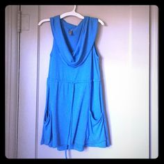 Sweater dress/tunic Beautiful blue tunic/sweater dress. Worn a handful of times. Drawstring under bust, pockets. Cowel neck. Sleeveless style works for warm or cool weather. Great with tights or pants! Tops Tunics