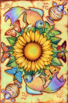 Sun flowers and butterfly's