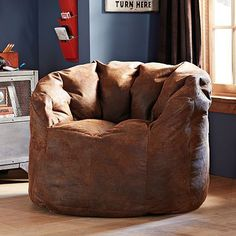 Trailblazer Cushy Club Chair #potterybarnteen --love that it looks like a baseball glove - for a sports themed room?!