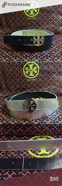 ⚡️Tory Burch logo reversible belt⚡️ Size small Navy and reversible to silver logo belt. Tory Burch Accessories Belts