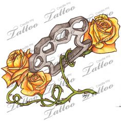 Brass Knuckles and Roses tattoo design