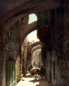 Via Dolorosa, American Colony Jerusalem, 1919 Hand-colored photographs of Jerusalem and Palestine. Photographs were created by the photographers of the American Colony Photo Department, located in Jerusalem. Founded in the late 1890s by Elijah Meyers, the photo agency was headed during its heyday (ca. 1903-1933) by Lewis Larsson, whose staff photographers included Erik Lind, Lars Lind, Furman Baldwin, and G. Eric Matson.