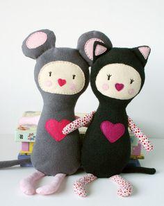 plush Mouse Girl - soft art doll, children toy. $70.00, via Etsy.