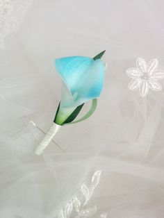 Beautiful Natural Touch Aruba Blue Aqua Turquoise Calla Lily Boutonniere - looks and feels like the real thing! Truly stunning  Shown in an Ivory