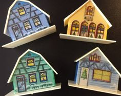 Plastic House Or Cottage Christmas Tree Light Bulb Covers 60s 70s Putz Type 4 Different Cute Christmas Tree Light Bulbs Christmas Bulbs Cottage Christmas