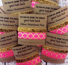 Party Favors // To Have & To Hold Your Hair Back - Bachelorette Hair Tie - Gifts. Bachelorette Party Favors // To Have & To Hold Your Hair Back - Bachelorette Hair Tie - Gifts - Survival Kits - MOH - Hair Ties Bachlorette Party, Bachelorette Weekend, Bachelorette Party Games, Unique Bachelorette Party Ideas, Bachelorette Gift Bags, Unique Wedding Favors, Wedding Party Favors, Wedding Dj, Wedding Gifts