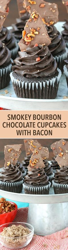 Smokey Bourbon Chocolate Cupcakes with Bacon - dark chocolate cupcakes spiked with bourbon in the cupcake and frosting! Topped with smokey salted bacon chocolate bark! SO amazing! Chocolate with bacon? Dark Chocolate Cupcakes, Chocolate Candy Melts, Chocolate Bark, Chocolate Muffins, Melting Chocolate, Chocolate Bourbon, Bacon Chocolate, Alcohol Chocolate, Cupcake Recipes