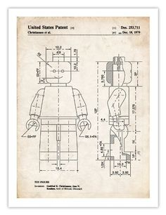 LEGO MINIFIGURE POSTER Toy Building Construction Blocks 1979 US Patent Art Print Mini Figure Minifig Gift Reproduction The Lego Movie, 18 by 24 Inches