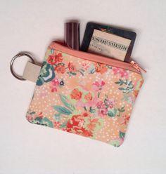 Keychain Wallet, Coin Purse, Spring Peach Flowers $9 by SewChickadeeSew