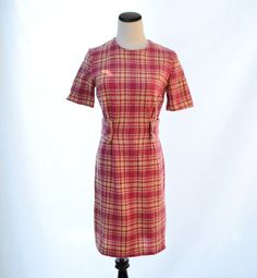 Wool Pink Plaid Winter Dress // 60s Vintage Dress by CoolMintMoon