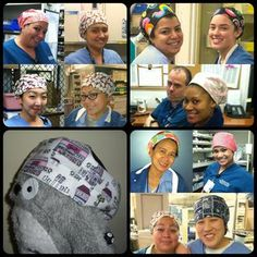 scrub cap tutorial -- made these, but added a tie in back instead of using elastic. So cute!