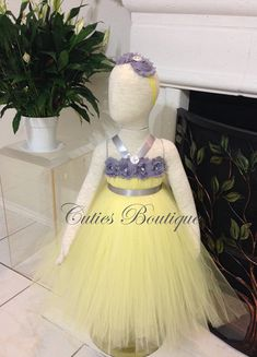 Flower Dress Style 152 Choice Of White Or Ivory With Yellow Sash And