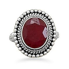 Ruby Ring: Vintage Sterling Silver Ruby Ring