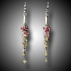Tourmaline Earrings Sterling Silver and Gemstone Hand by xaosart