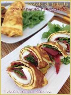 Una ricetta tanto semplice quanto gustosa, il Rotolo di frittata con bresaola e mozzarella .