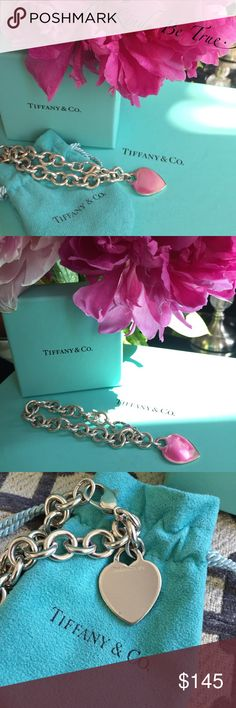"""Tiffany & Co. Bracelet w/Heart. Sterling Silver. Classic Tiffany & Co. Round Link Heart Tag Bracelet.  925 Sterling Silver 7.5"""" Long 34g.  Very good condition, faint markings throughout.  Tag can be engraved.  Pouch included.  No box or bag. Tiffany & Co. Jewelry Bracelets"""