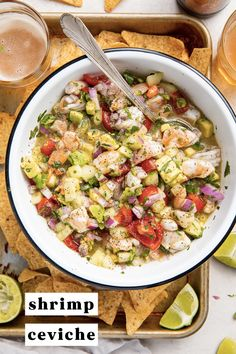 "This shrimp ceviche is loaded with bright citrus flavor, fresh flavorful veggies like tomato, avocado, and cucumber, and super tender shrimp that's ""cooked"" in lime juice. If you're looking for an authentic and easy shrimp ceviche recipe, look no further! #shrimp #seafood #ceviche #easy Kitchen Recipes, Raw Food Recipes, Seafood Recipes, Freezer Recipes, Freezer Cooking, Avocado Recipes, Drink Recipes, Cooking Tips, Mexican Dinner Recipes"