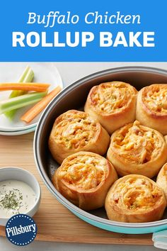 Roll up all your favorite Buffalo chicken flavors in a crescent dough sheet for a game day meal that wins—every time! Only 7 ingredients and 10 minutes of prep required. Buffalo Chicken Roll Up, Buffalo Chicken Recipes, Buffalo Chicken Pinwheels, Buffalo Chicken Nachos, Chicken Roll Ups, Crescent Dough Sheet Recipes, Crescent Roll Recipes, Appetizer Recipes, Appetizers