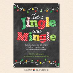 This festive and fun Mingle & Jingle Christmas party invitation is perfect for any holiday get together! (Also available in our Modern Holiday color scheme) Christmas Brunch, Christmas Holidays, Christmas Crafts, Christmas Decorations, Adult Christmas Gifts, Christmas 2019, Christmas Carnival, Christmas Pops, Christmas Jingles