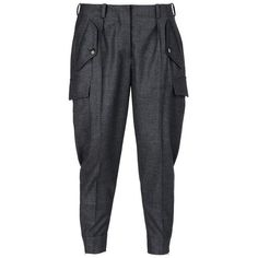 Stella McCartney Charcoal Tess Trousers ($390) ❤ liked on Polyvore featuring pants, capris, slim leg pants, black zipper pants, zip pants, black flannel pants and flannel trousers