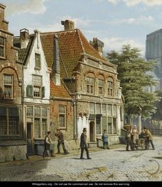 Dutch Street With A Church Tower - Willem Koekkoek City Painting, House Painting, La Haye, Perspective Art, Medieval Life, Dutch Painters, Old Paintings, City Landscape, Dutch Artists