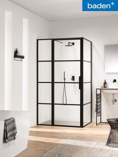 All Soho screen options are in height and come with easy clean safety glass. The matte-black steel framing is only to the exterior of the glass, therefore allowing easy cleaning to the interior glass without any physical barriers. White Bathroom, Bathroom Interior, Modern Bathroom, Small Bathroom, Bad Inspiration, Bathroom Inspiration, Soho, Modern Shower, Bathroom Toilets