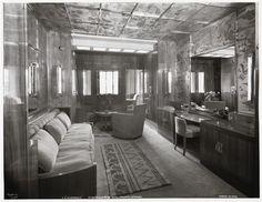 """[S.S. """"Normandie"""", Stateroom #65 with Private Veranda, Cabin Class.]"""
