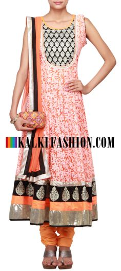 Buy Online from the link below. We ship worldwide (Free Shipping over US$100)  http://www.kalkifashion.com/orange-anarkali-suit-embellished-in-zari-and-lucknowi-work-only-on-kalki.html