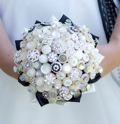 The Deluxe Bassey Button Bouquet - Ivory Vintage Buttons and Rhinestone Buttons from Beaubuttons on Etsy