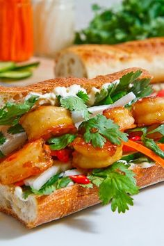 Caramel Cilantro Shrimp on a Baguette