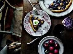 RED CABBAGE, ONION AND WALNUT TART.