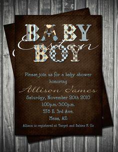 Modern Boy Baby Shower Invitation