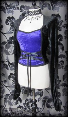 Gothic Black Purple Crushed Velvet Corset Style Top M 12 Whitby Vampire Goth | THE WILTED ROSE GARDEN