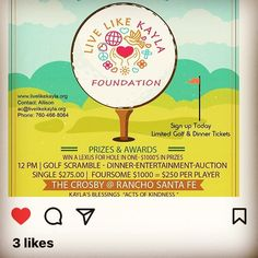Hope you will all join us for a great day on the Crosby Golf Course & to support this wonderful organization 🌼❤️🌸💜⛳️@livelikekaylafoundation #sandiego #golf #contests #prizes #silentauction #awards #dinner #crosbygolfcourse #ranchosantafe #usga #scga  #sdcwga #wga #ranchosantafelocals #sandiegoconnection #sdlocals #rsflocals - posted by   https://www.instagram.com/kkpuplava. See more post on Rancho Santa Fe at http://ranchosantafelocals.com